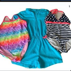 2 Girls Swim suits & 1 Romper Cover Up Size 10/12